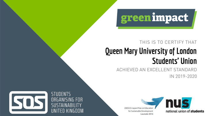 'Excellent' Level Green Impact Award, Queen Mary Students' Union 2019-20