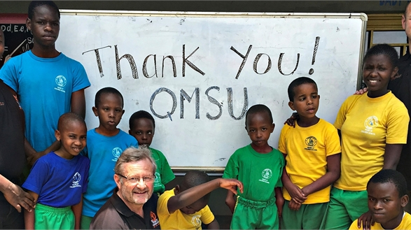 Children say thank you to QMSU in Rwanda