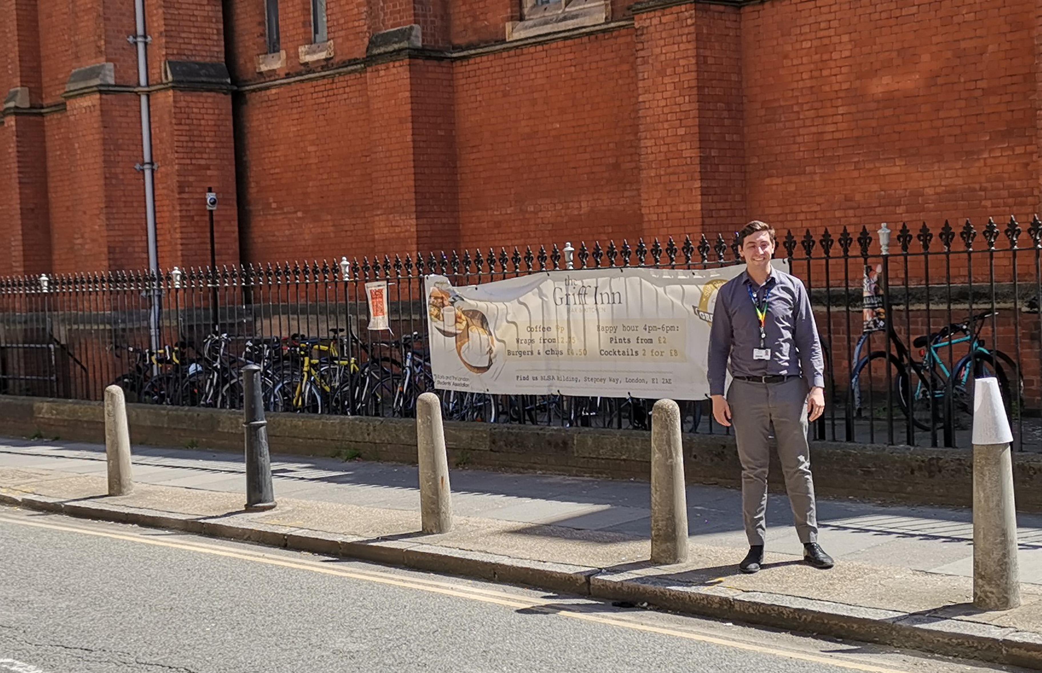 Tom Longbottom, your VPBL, blinking in front of the Whitechapel Library bike area